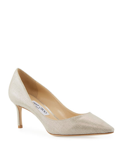 Romy 60mm Metallic Linen Pumps