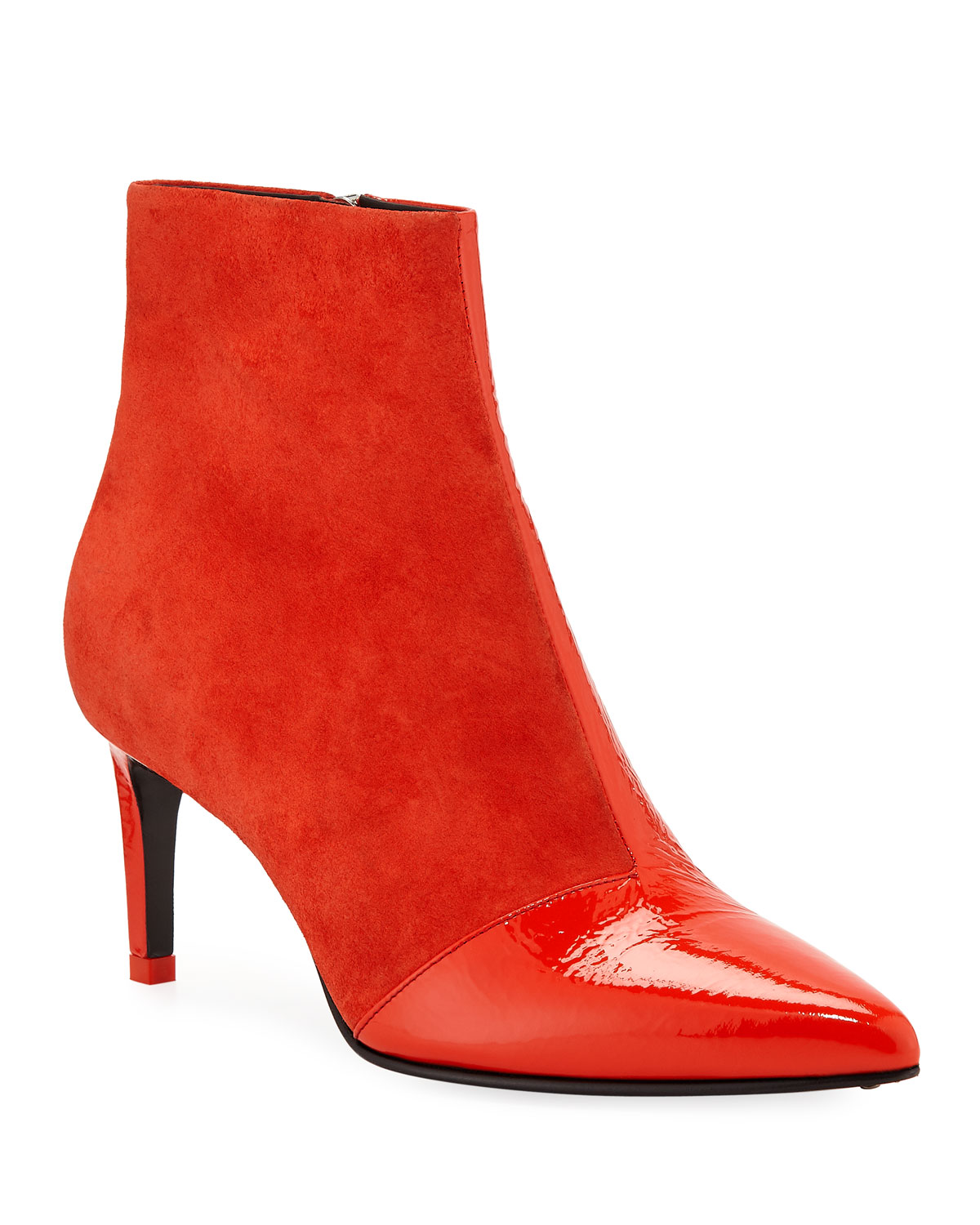 Beha Suede And Patent Leather Ankle Booties by Rag & Bone