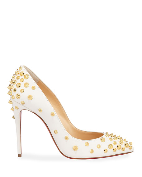 536a586562b0 Christian Louboutin Aimantaclou Spikes Red Sole Pumps In White Gold ...