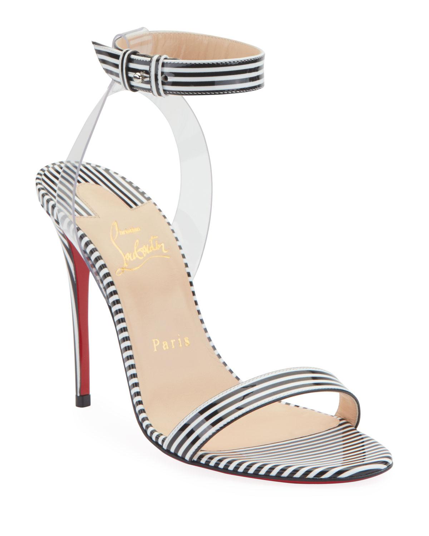 7f9b08fa17a Christian LouboutinJonatina 100mm Striped Patent Illusion Red Sole Sandals
