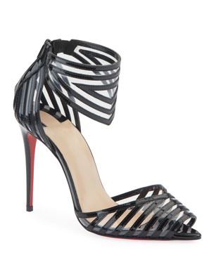 ca4c7cafee88 Christian Louboutin Maratena 100 Patent PVC Red Sole Sandals