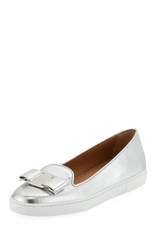 Salvatore Ferragamo Novello Bow Slip-On Sneakers