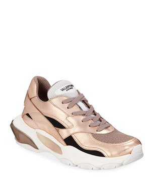 af4bbd713d5b Valentino Garavani Bounce Metallic Leather Nylon Lace-Up Sneakers