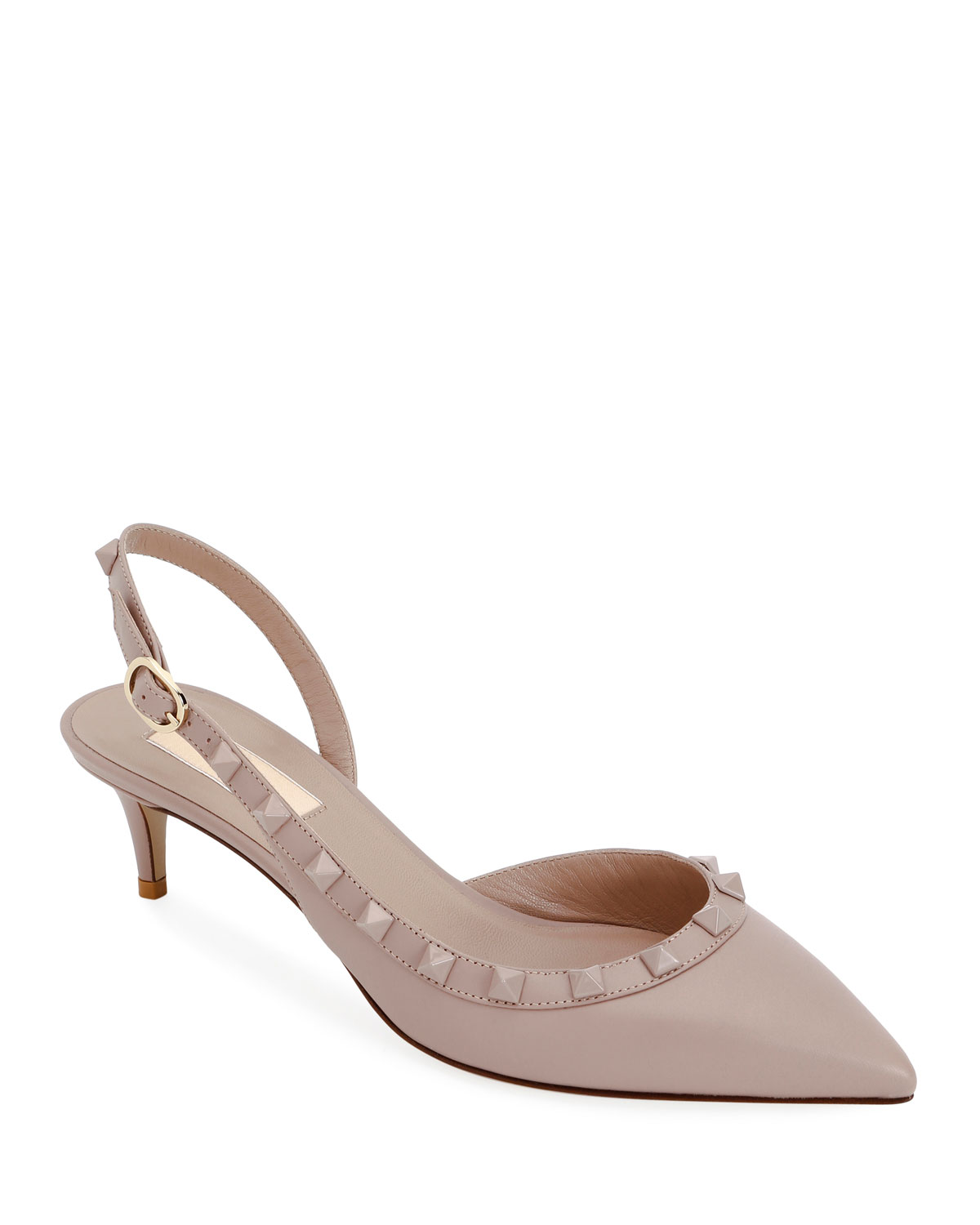 a9b3e0aabc8 Valentino Garavani Rockstud Low-Heel Leather Slingback Pumps ...