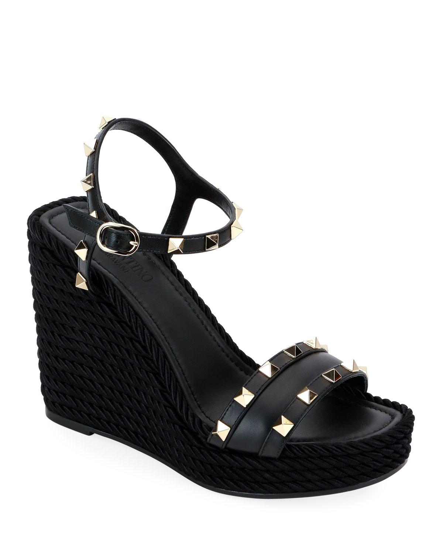6e68a3cea852 Valentino Garavani Rockstud Leather Wedge Sandals