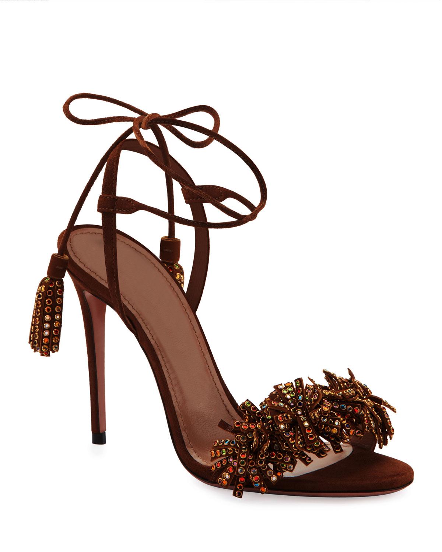 9bccfa40a Aquazzura Wild Crystal Fringed Sandals