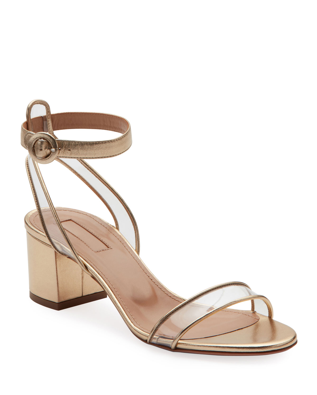 7420cc679c77 Aquazzura Minimalist Metallic Block-Heel Sandals