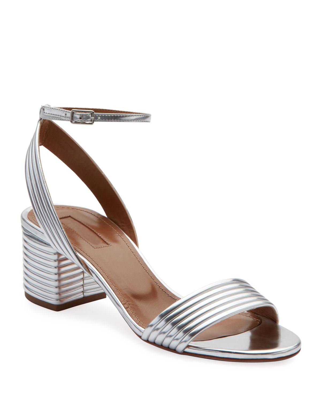 c6cf08f805a Aquazzura Sundance 50mm Metallic Leather Block-Heel Sandals
