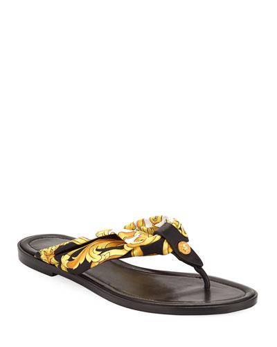 Hibiscus-Print Flat Sandals