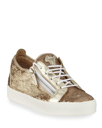 Sequined Metallic Low-Top Sneakers
