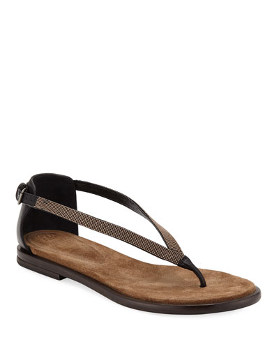 Flat Monili/Leather Thong Sandals