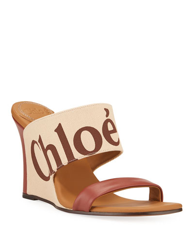 Verena Logo Wedge Slide Sandals