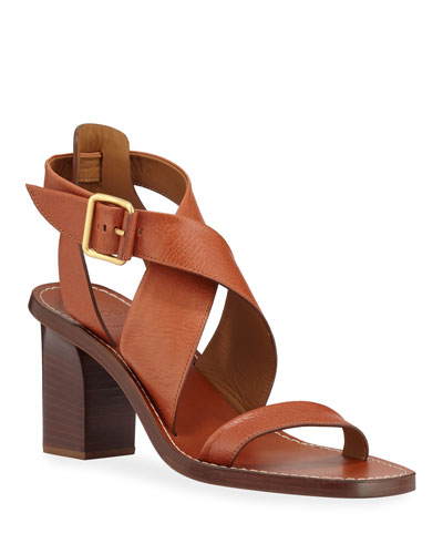 Virginia Strappy Leather Block-Heel Sandals