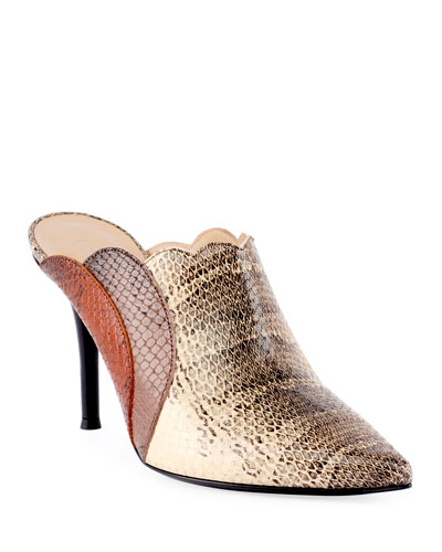 Scalloped Python-Printed Mules