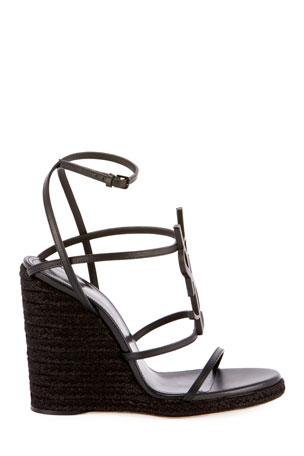 Black Medium Wedged High Heel Flip Flops //w MIRRORED SUNFLOWER Crystals