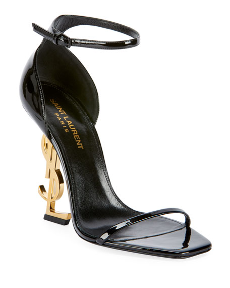 Saint Laurent Opyum YSL Logo-Heel Sandals with Golden