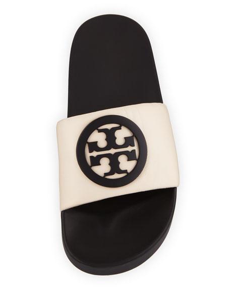 Tory Burch Lina Logo Leather Pool Slide Sandals Neiman