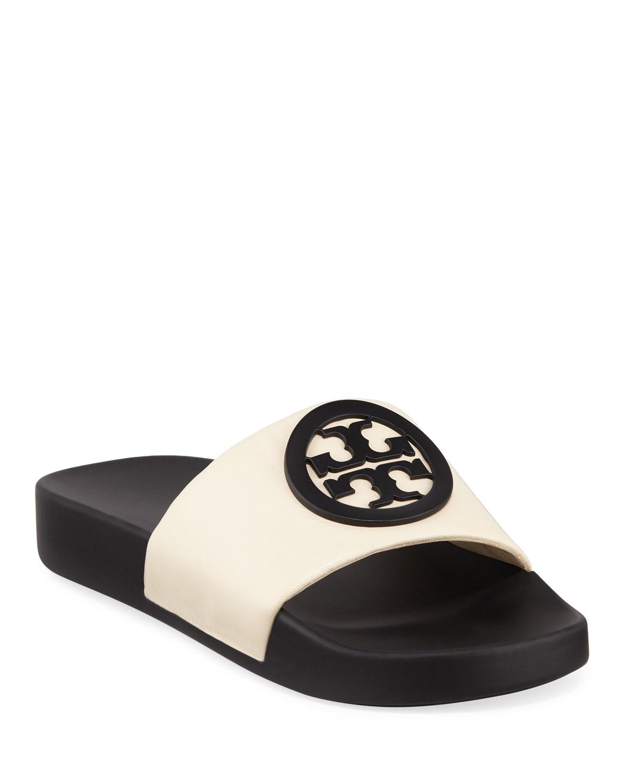 92d0085fc606 Tory Burch Lina Logo Leather Pool Slide Sandals