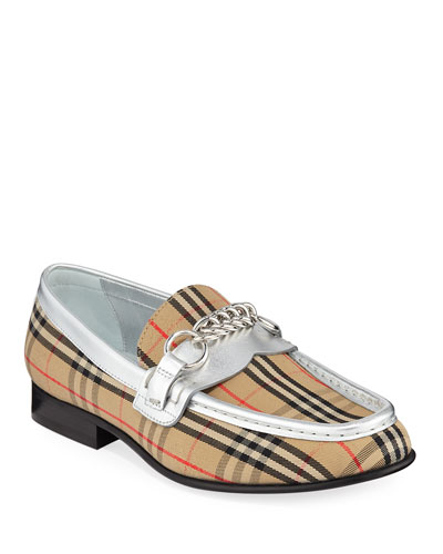Moorley Chain Check Loafers with Metallic Piping