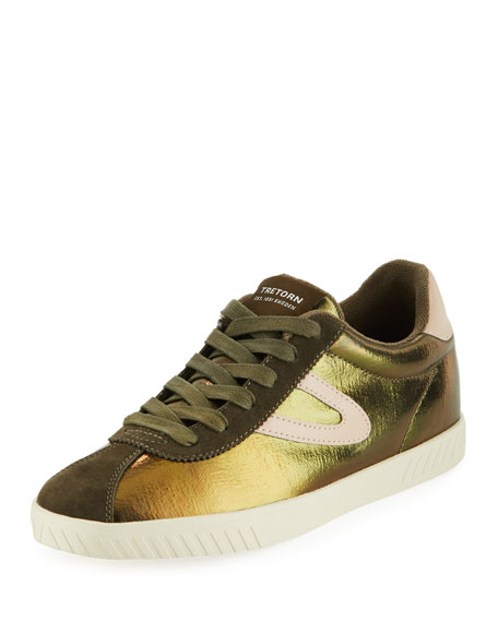 Tretorn CALLIE METALLIC LOW-TOP SNEAKERS