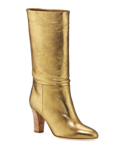 Reign Metallic Leather Block-Heel Boots