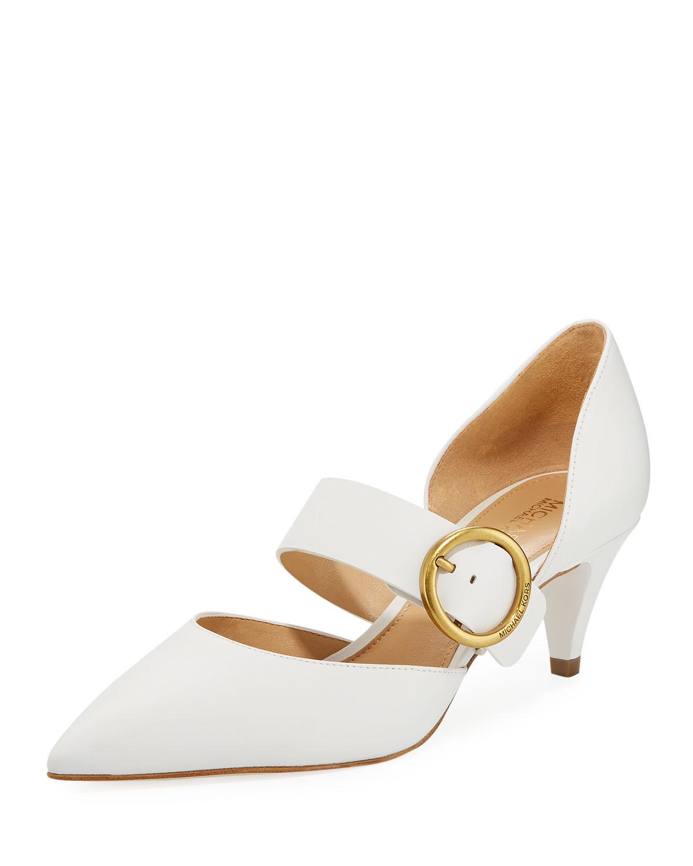 a7dbdd0b8389 MICHAEL Michael Kors Estelle Leather Kitten-Heel Mary Jane Pumps ...