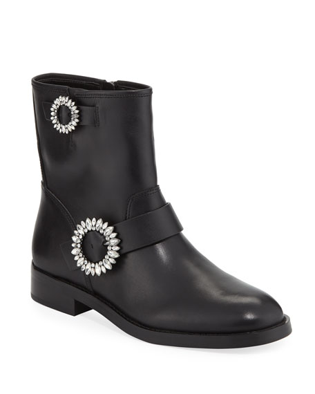 MICHAEL Michael Kors Viola Embellished Leather Moto Boots