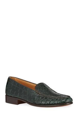 Gravati Venetian Crocodile Flat Loafers