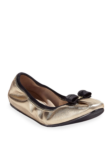 Salvatore Ferragamo My Joy Silky Leather Ballet Flats