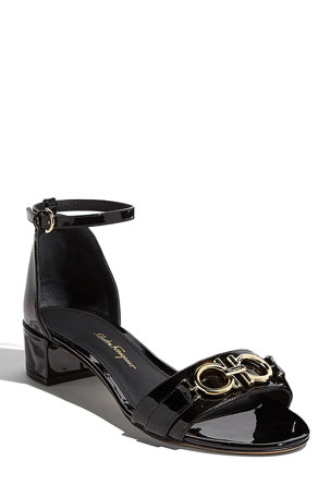 Salvatore Ferragamo Como Gancini Patent City Sandals, Black
