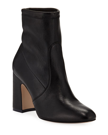 Niki Stretch-Leather Booties in Black Tripon