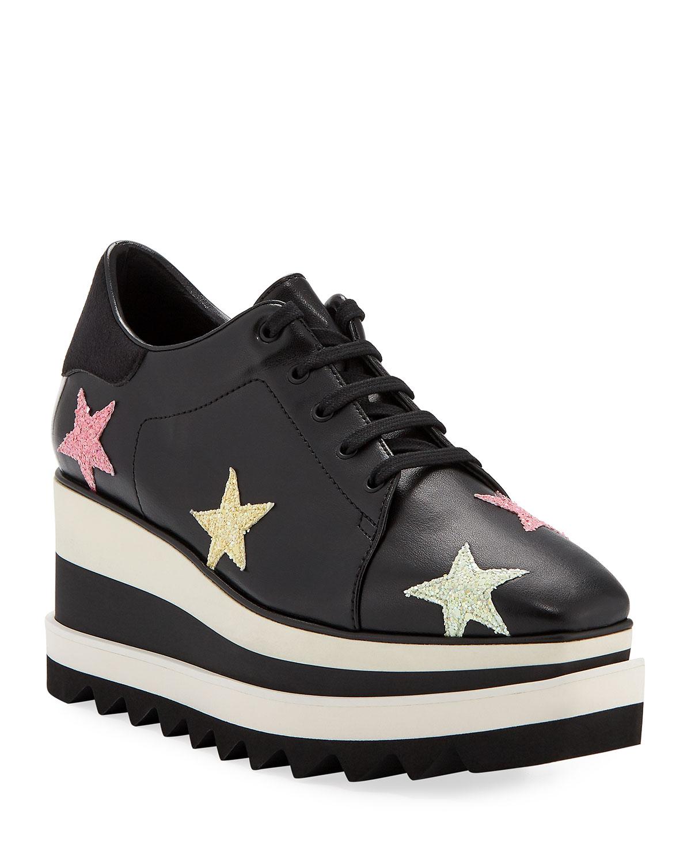 ad751edfd9f4 Stella McCartney Elyse Stars Glitter Platform Sneakers