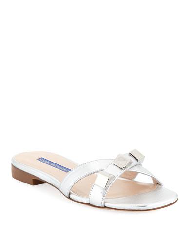 Flat Metallic Studded Sandals  Silver