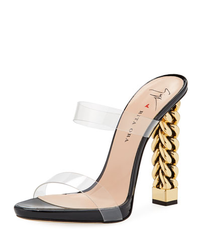 Invisible Strap Chain-Heel Sandals