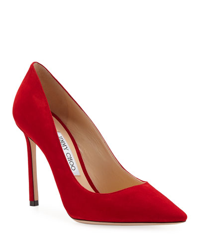 Romy 100mm Suede Point-Toe Pumps