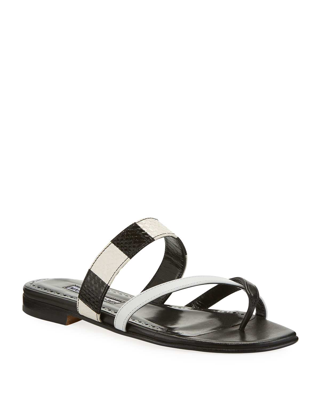60e2638520932 Manolo Blahnik Susa Flat Snake Slide Sandals