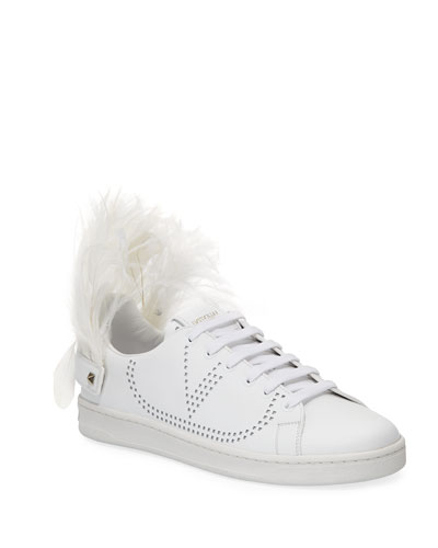 Feather-Heel Calf Leather Sneakers