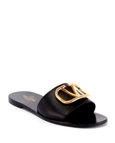 Flat Leather Logo Slide Sandals