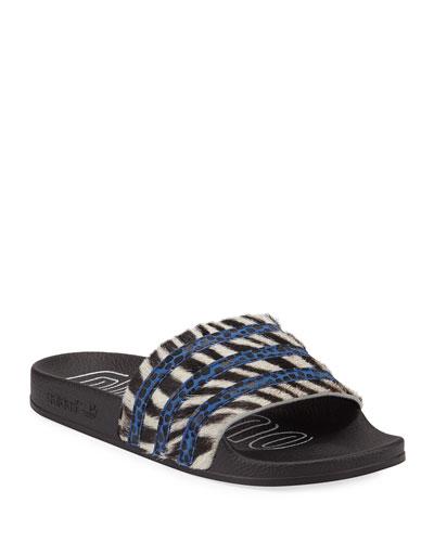 Adilette Zebra Calf-Hair Slide Sandals