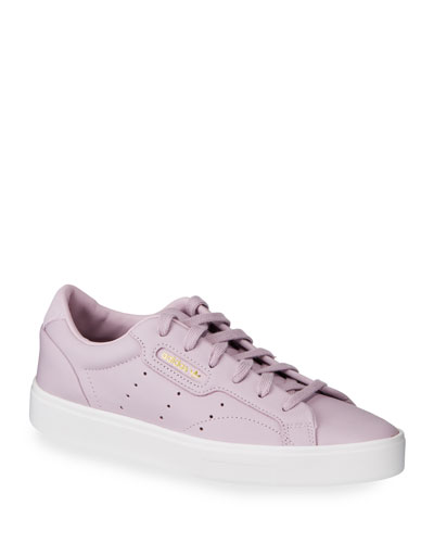 Sleek Leather Lace-Up Sneakers