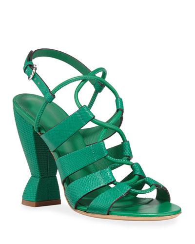 Sirmio Snakeskin Sculptural Lace-Up Sandals