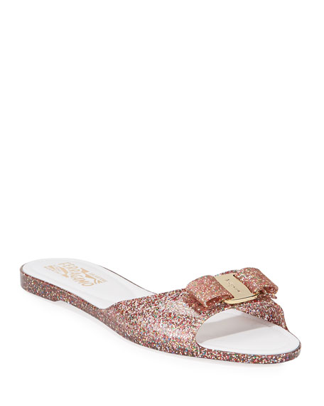 Salvatore Ferragamo Cirella Glittered Jelly Slide Sandals