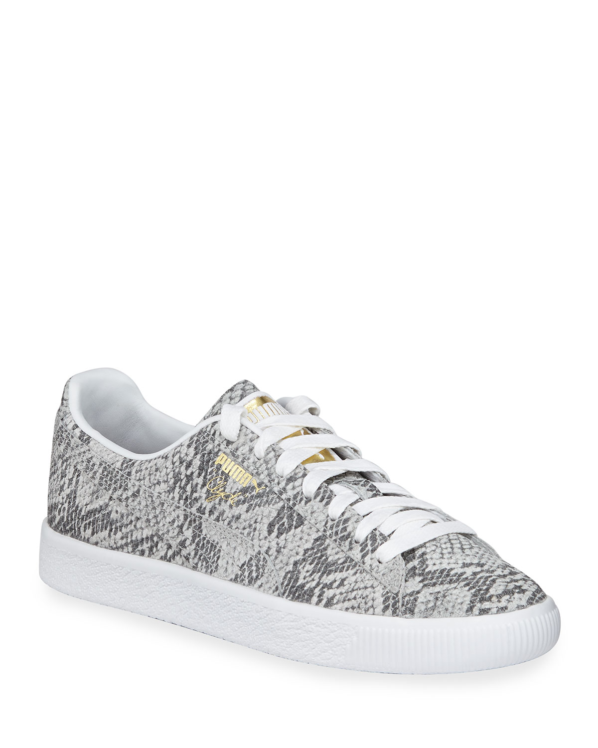 95358af87022 Puma Clyde Snake-Print Leather Lace-Up Sneakers