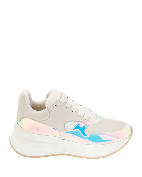 Leather and Holographic Lace-Up Platform Sneakers