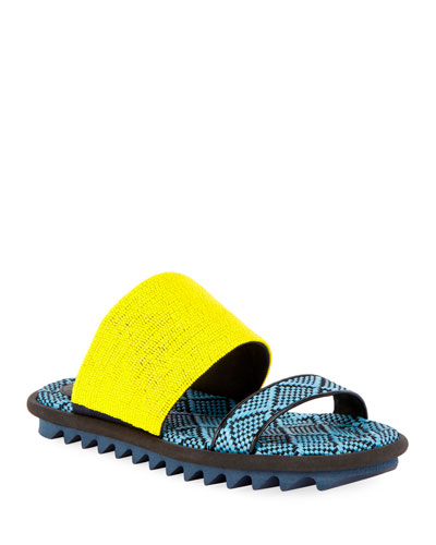 Sport-Sole Raffia-Leather Slides