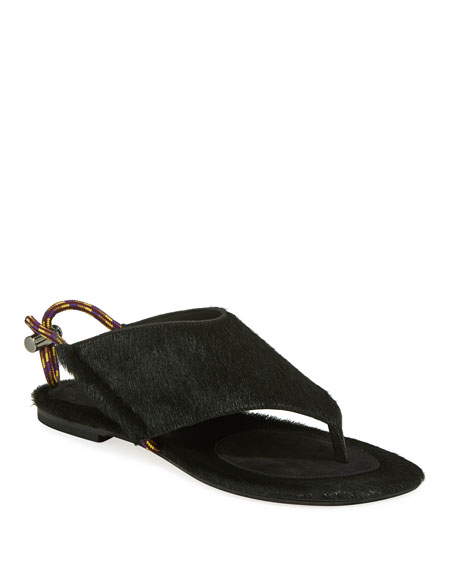 Dries Van Noten Flat Calf Hair Thong Sandals