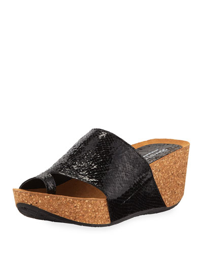 5c593c6eaee8 Donald J Pliner Ginie Metallic Snake-Print Leather Wedge Slide Sandals