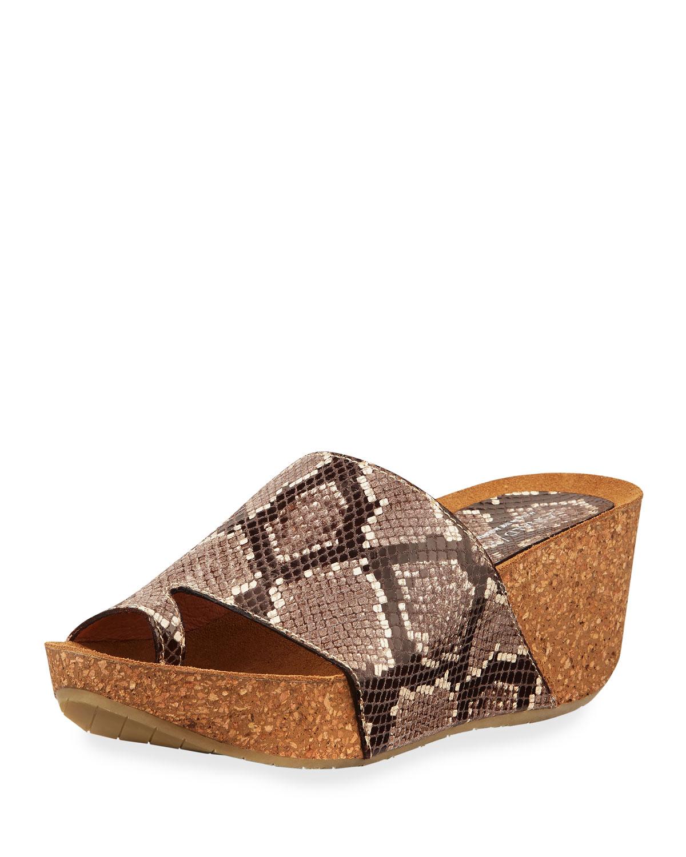 a3e255356958 Donald J Pliner Ginie Snake-Print Leather Wedge Slide Sandals ...