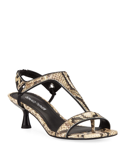 Caro T-Strap Python Snake-Embossed Sandals