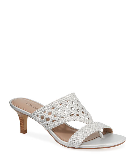 Donald J Pliner Kikki Woven Metallic Leather Sandals